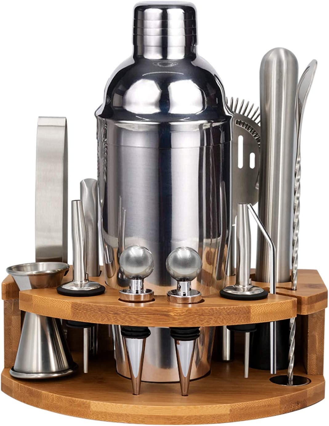 FOVERN1 Cocktail Shaker Set Bartender Kit, 15 Pieces Home Bar Tool Set with Bamboo Stand 25 oz Professional Stainless Steel Martini Shaker with Cocktail Recipes Booklet