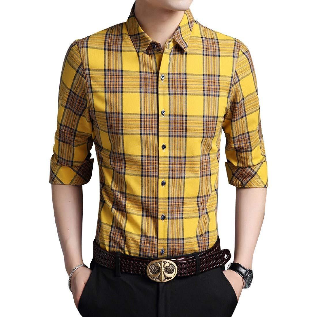YUNY Mens Plaid Stylish Long Sleeve Button Down Dress Shirt 1 L