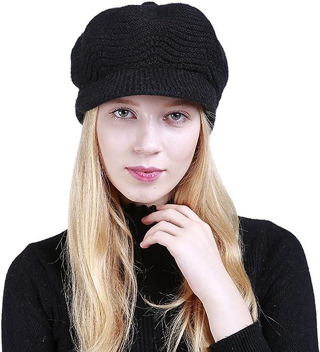 TWGONE Womens Knit Cap Solid Warm Crochet Winter Wool Knit Manual Caps Hat(One  Size 61a4ccd5b