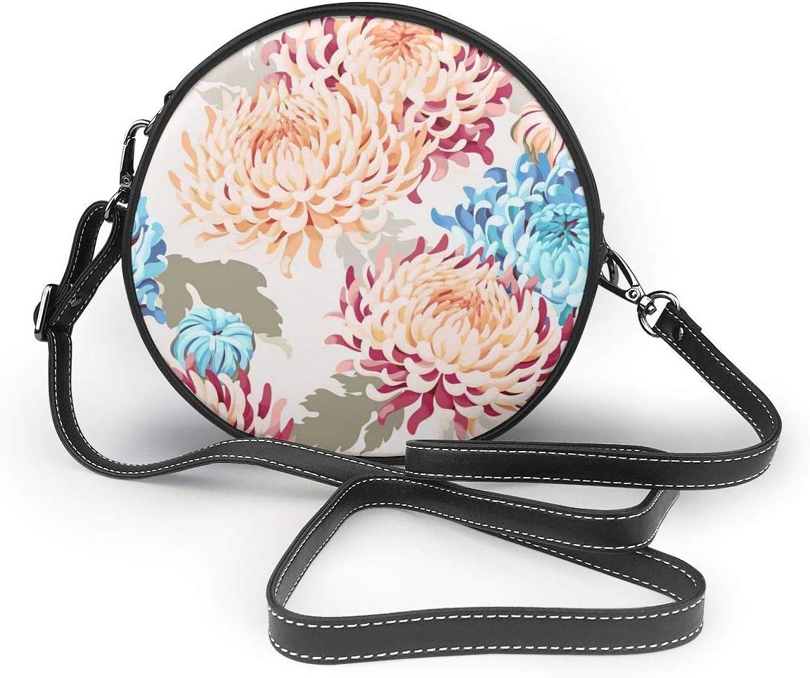 Womens Round Crossbody Bag Watercolor Chrysanthemum Crossbody Purse PU Leather Zipper Shoulder Bag