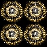 4Pack 150 LED Copper Wire Firework Lights Christmas Decorative Hanging Lights Battery Operated Fairy Lights with Remote,8 Modes Waterproof Starburst Sphere Lights for Party Patio Bedroom Outdoors