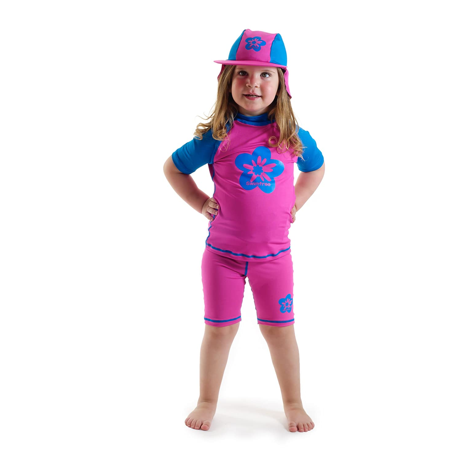 Girls Size 2 Pink/blue Sun Protective Swimsuit Shirt & Pants Age 2 Years Swimfree