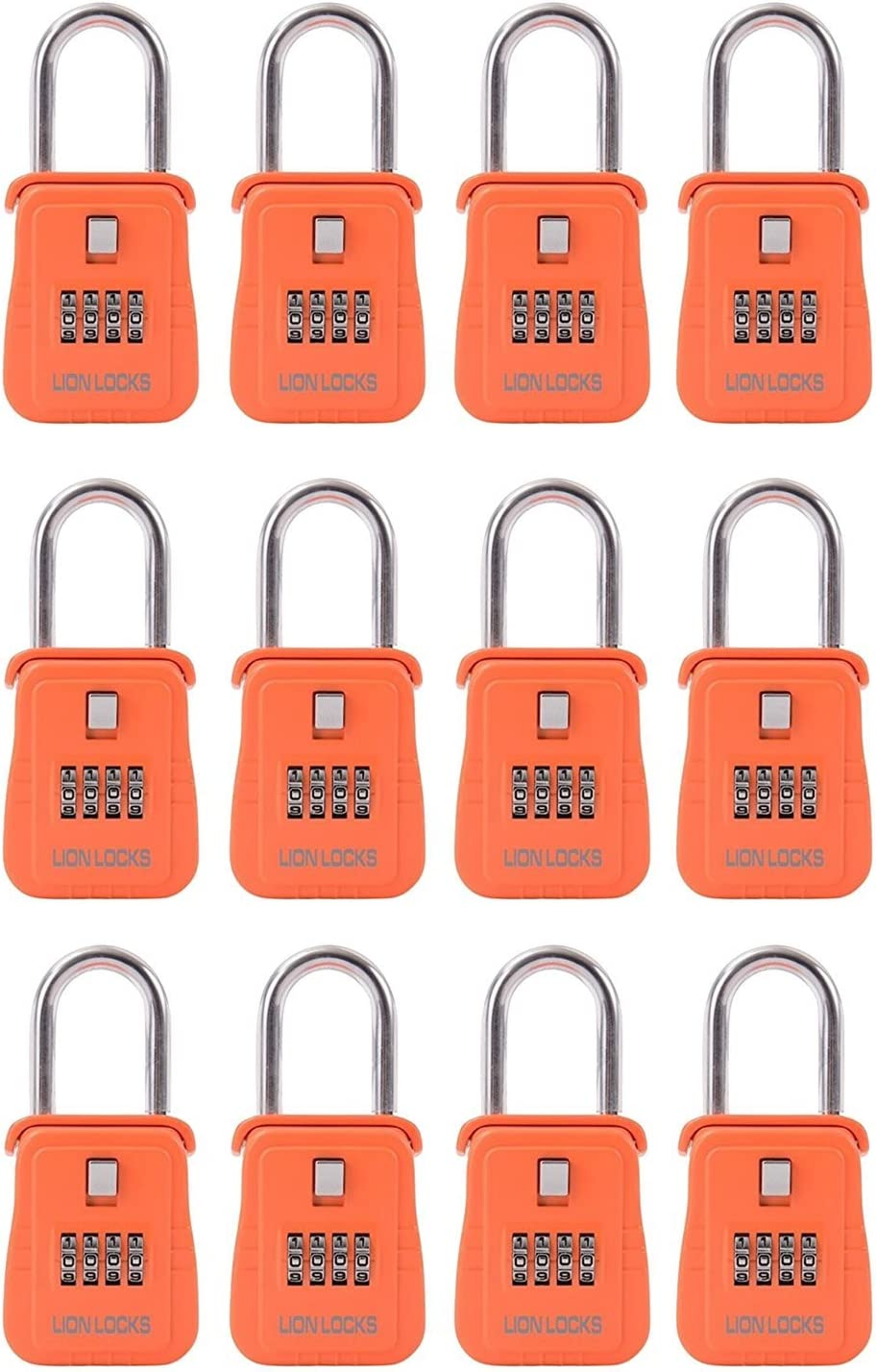 Lion Locks 1500 Key Storage Realtor Lock Box with Combination, 12 Pack, Orange
