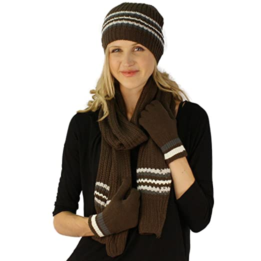 Winter Girls Ladies Knit Stripe Scarf Beanie Hat Cap Gloves Ski 2pc
