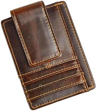 Genuine Leather Magnetic Money Clip Brown Thin Slim Holder Money Card Id Men New