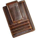 Le'aokuu Genuine Leather Magnet Money Clip Credit Card Case Holder Slim Handy Wallet
