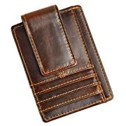 Leaokuu Genuine Leather Magnet Money Clip Credit Card Case Holder Slim Handy Wallet