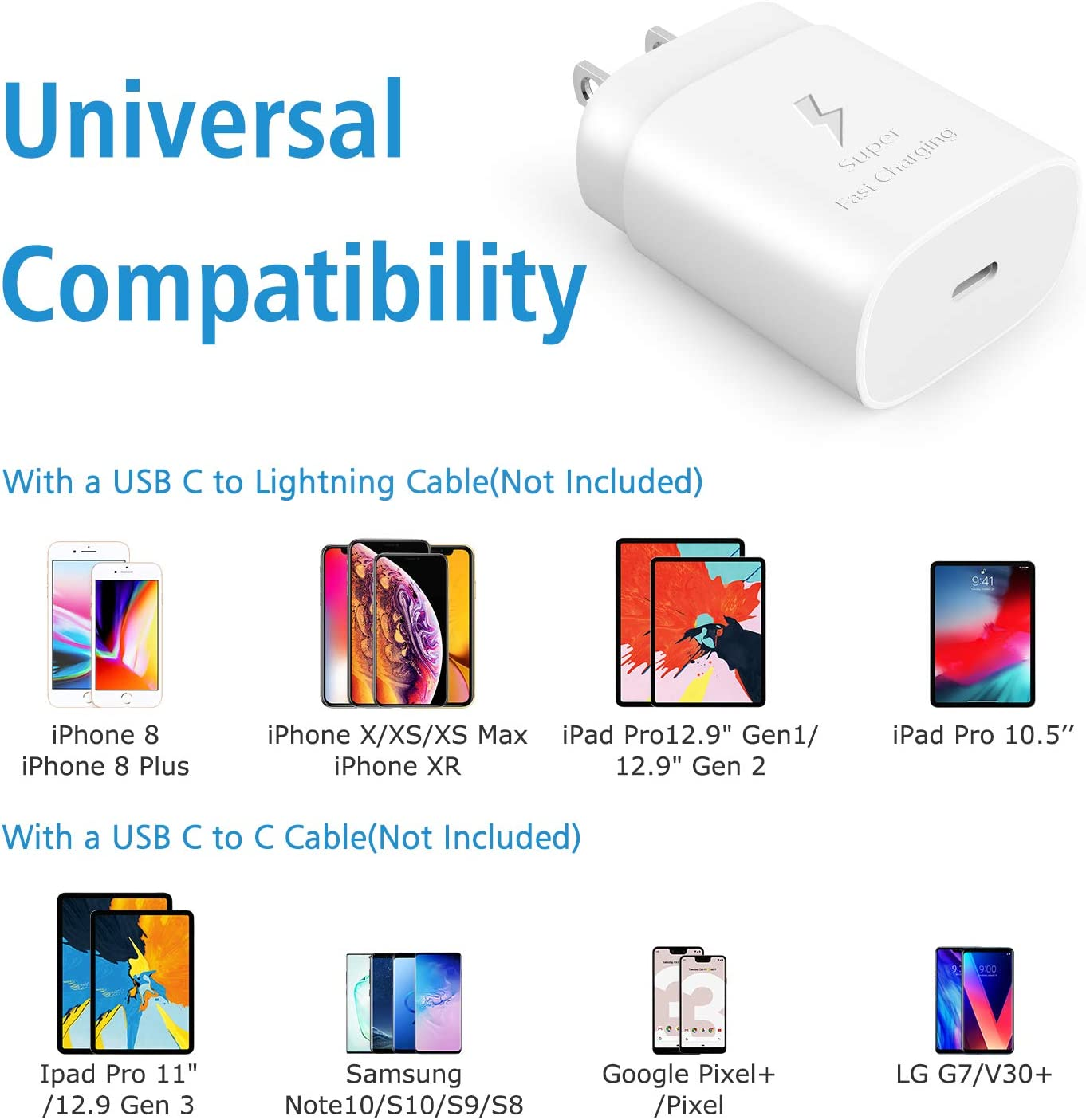 iPad Pro LUOATIP PD 3.0 18W Type C Wall Plug Cube Power Delivery Block Adapter for iPhone 11 Pro Max Xs Max XR X 8 Plus USB C Charger LG ThinQ G8 G7 Samsung Google Pixel 3//2//XL AirPods Pro