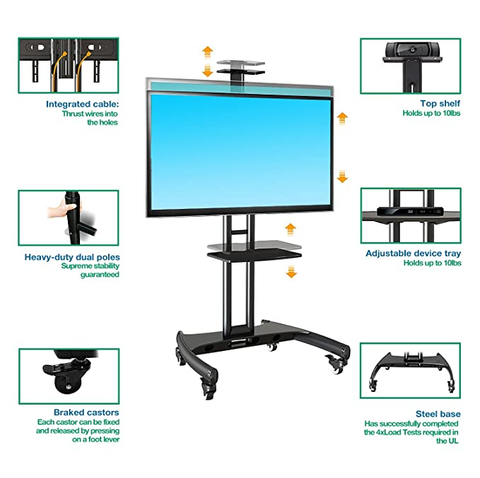 mobile flat screen tv stand on wheels for 32 to 65 inch lcd led plasma curved ebay. Black Bedroom Furniture Sets. Home Design Ideas