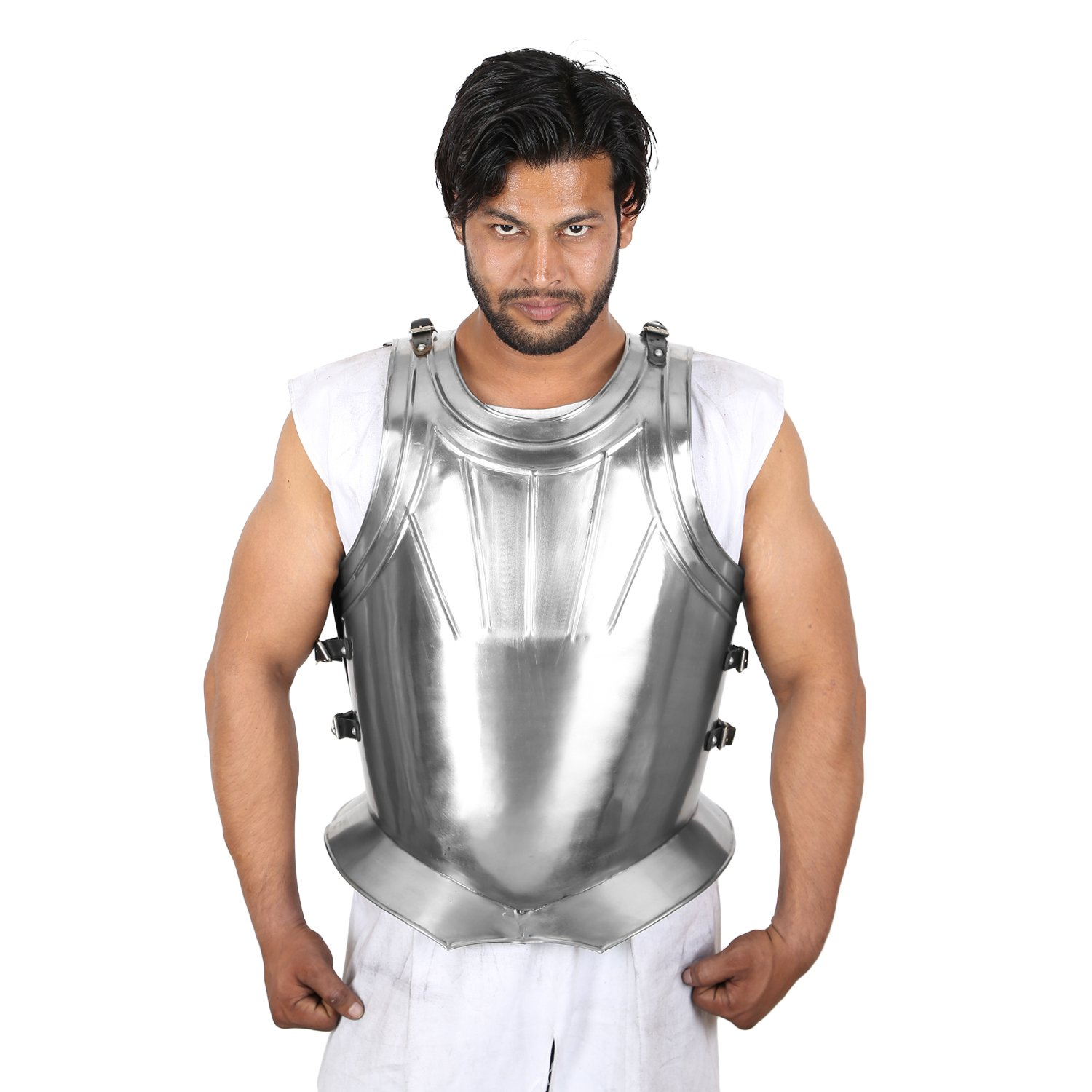 Roman Muscle Breast Plate Medieval Armor Silver Chrome Finish Armor Jacket by Medieval Edge