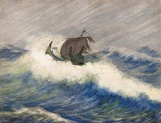 Coastal Landscape  by Theodor Kittelsen   Giclee Canvas Print Repro