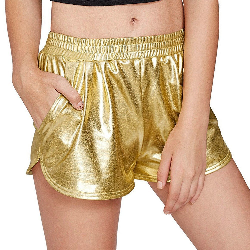 Women's High Waist Hot Pants,Ladies Casual Shiny Metallic Pants Solid Trousers Shorts with Pockets by cobcob women's pant