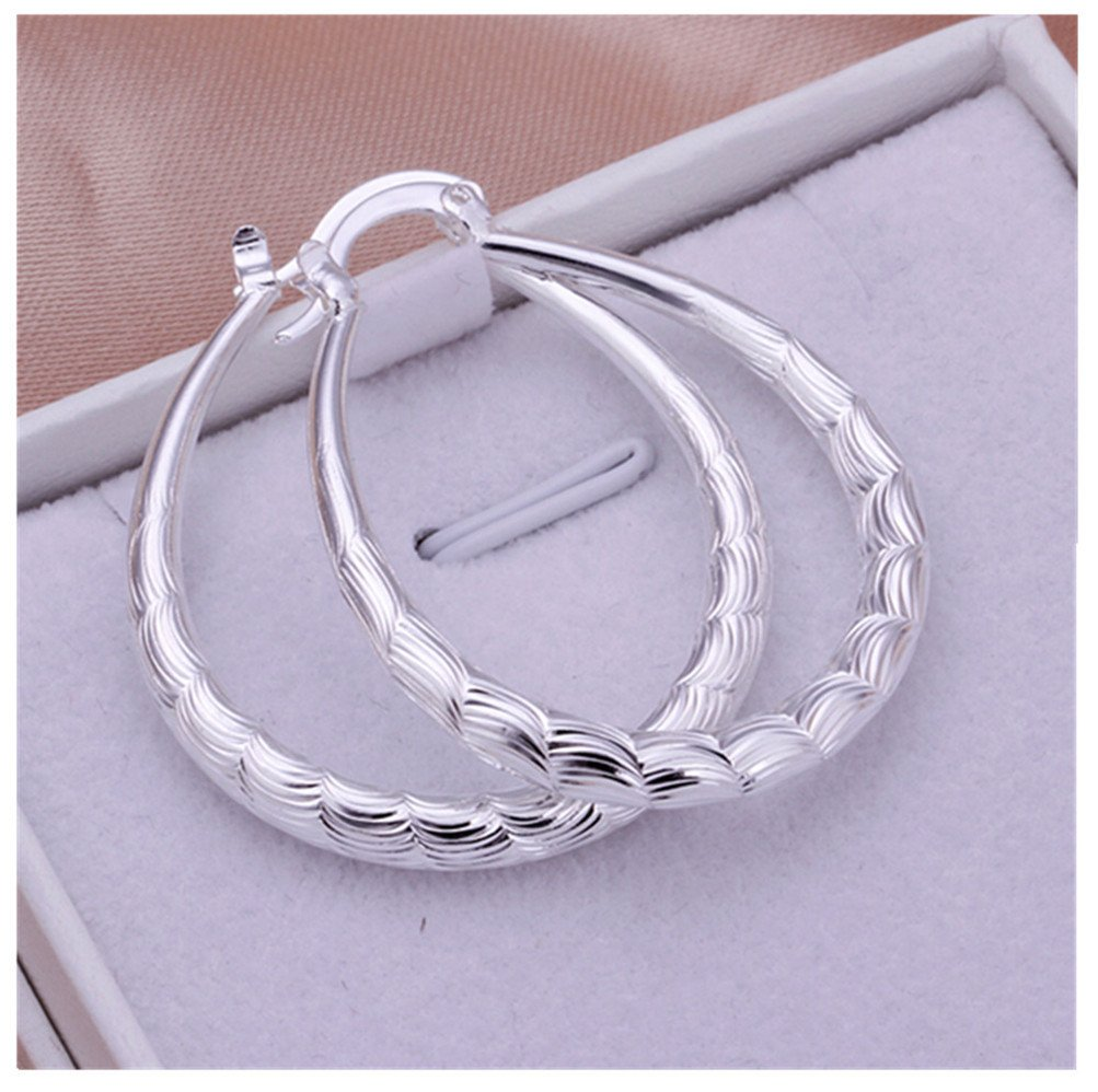 HMILYDYK Fashion Big Hoop 925 Sterling Silver Plated Hoops Wedding Earrings for Women Girls