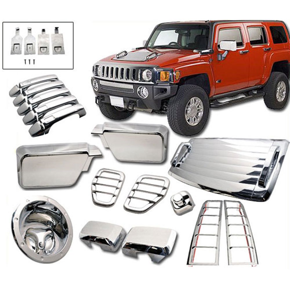 Exterior Moulding Trim Cover Fits 2006-2010 HUMMER H3 | Chrome Added On Bodykit by IKON MOTORSPORTS | 2007 2008 2009 by IKON MOTORSPORTS (Image #1)