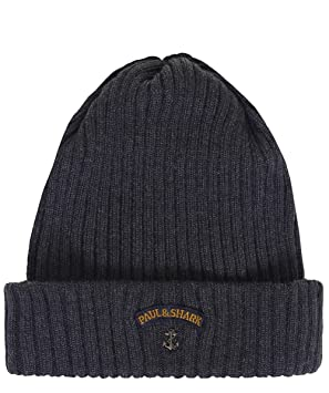 65c948cefe0 Paul and Shark Men s Virgin Wool Beanie Hat One Size Grey  Amazon.co ...