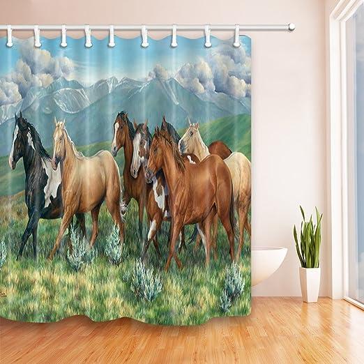 Indoor Bathroom Decor Horse Pattern Bath Shower Curtain with 12 Hooks