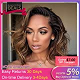 Wicca 180% Thick Ombre Short Curly Brown Lace Front Wigs Side Part Natural Curly Brazilian Human Hair Lace Front Wig With Baby Hair Pre Plucked