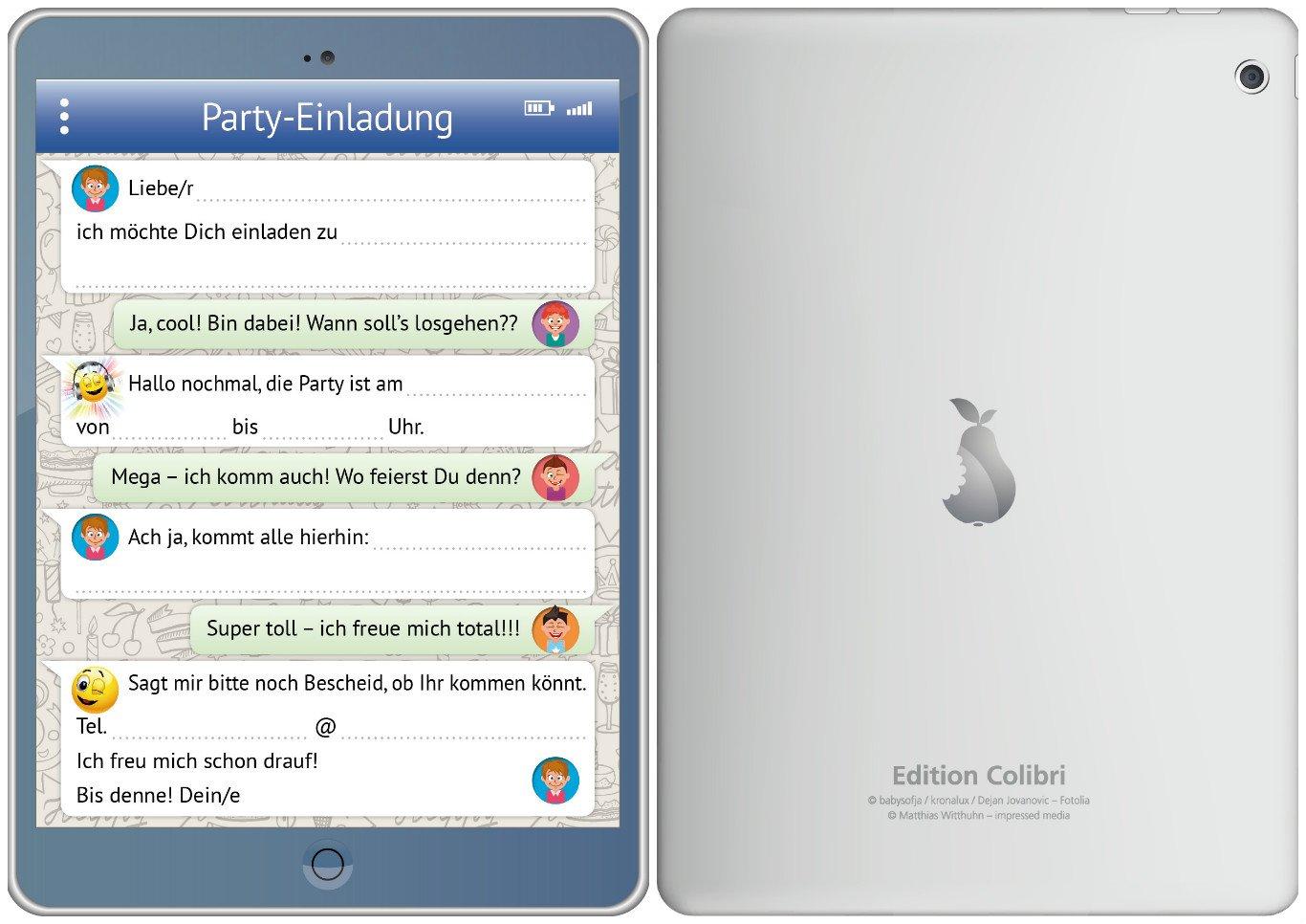 8 Er Set Lustige Tablet Einladungskarten (10730) Mit WhatsApp Nachricht Und  Smileys (Emojis) Zum Kindergeburtstag Von EDITION COLIBRI ©    Umweltfreundlich, ...