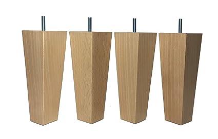 Pack de 4 patas para muebles madera maciza haya 18 cm altura colores negro natural.Pies o piernas para elevar o renovar sofás armarios sillones ...