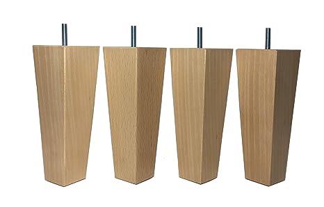 Pack de 4 patas para muebles madera maciza haya 18 cm altura ...