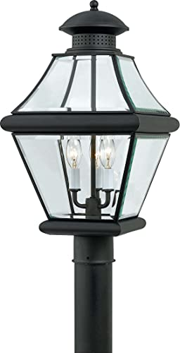 Quoizel RJ9011K Rutledge Outdoor Post Lantern Pier Mount Lighting, 3-Light, 180 Watts, Mystic Black 21 H x 11 W