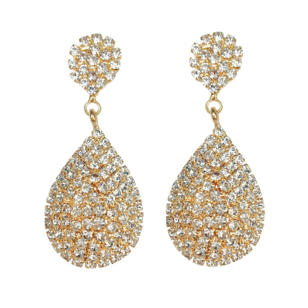 Les Bohémiens Rhinestone Crystals Studded Gold Teardrop Dangle Earrings for Women Clip On Earrings and Pierced Earrings (Gold Clip-On)