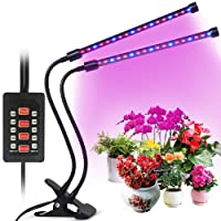 Grow Light for Indoor Plants, 2018 Latest Timing Function (Auto ON/OFF) with 36 LED (18W) Dual Head Clamp Clip Plant lamp, Adjustable Flexible 360° Gooseneck, 3 Working Modes, 5 Dimmable Levels for Hydroponics Greenhouse Gardening Seeding Growing