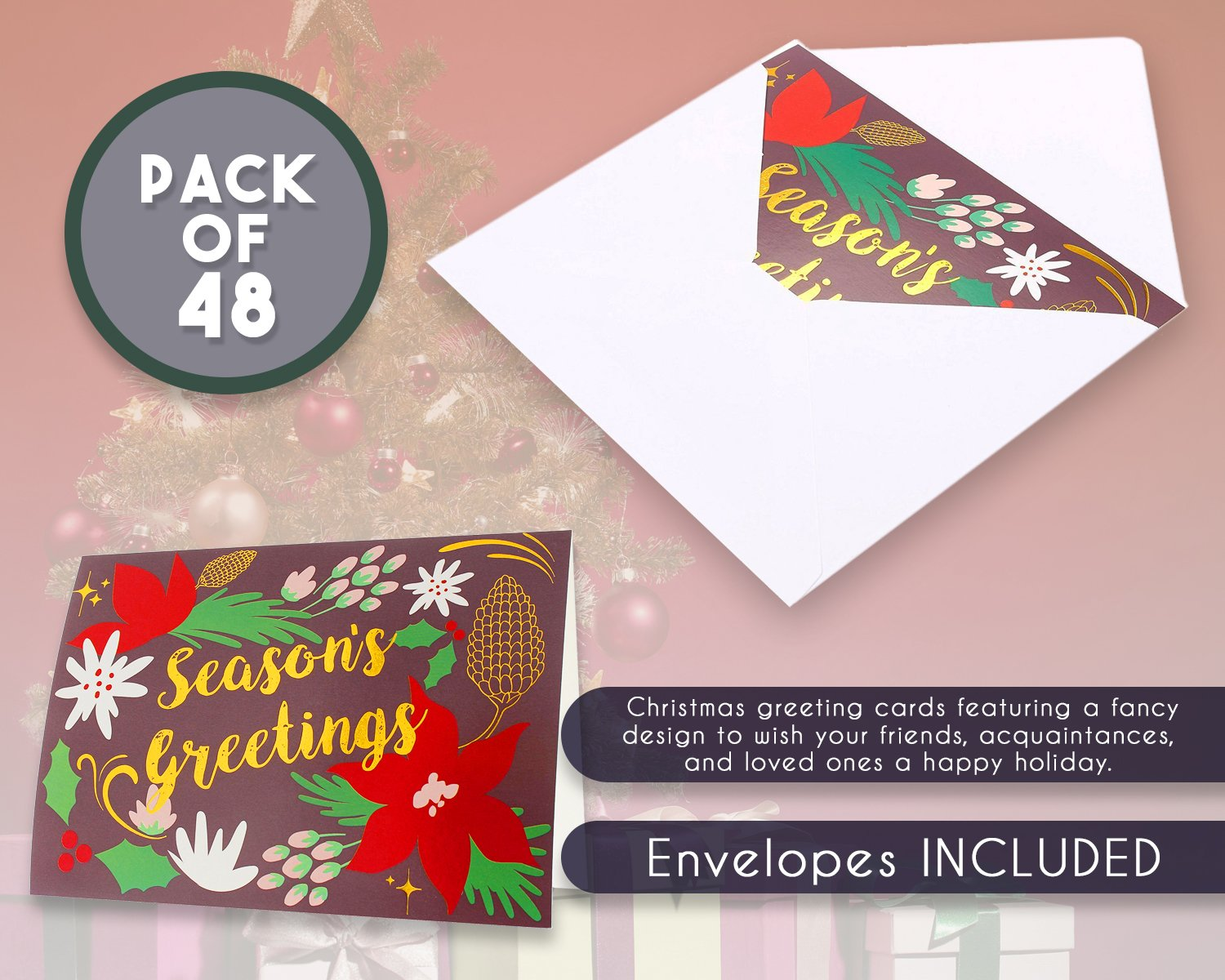 Amazon 48 Pack Merry Christmas Greeting Cards Bulk Box Set