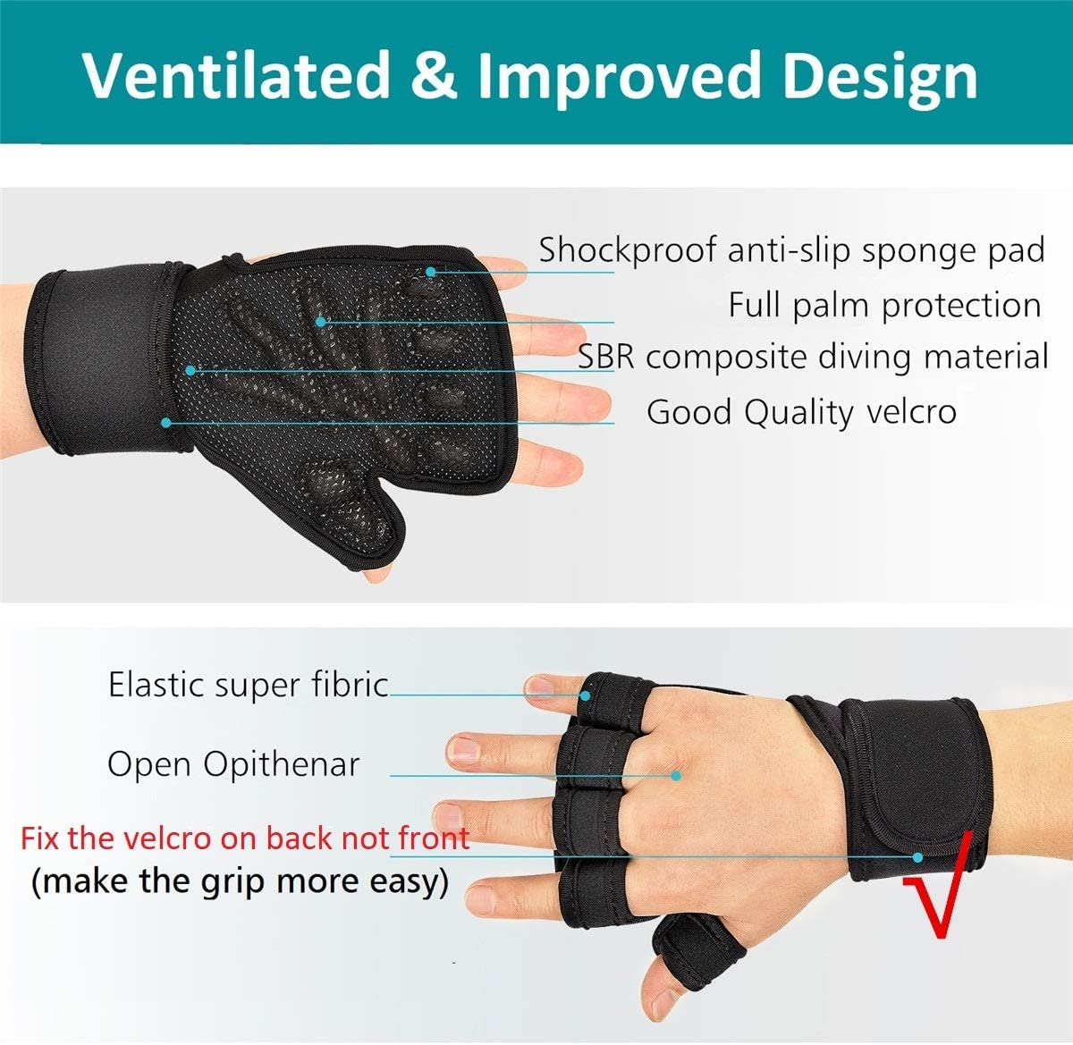 Extra Grip Fitness Pull Ups for Gym Men and Women didaINT Updated Ventilated Weight Lifting Gloves Full Palm Protection Weightlifting Workout Gloves with Wrist Wraps Crossfit
