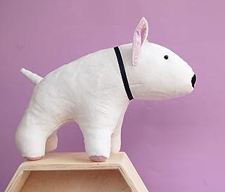 White Bull Terrier stuffed toy dog, plush puppy Dog Lover Gift