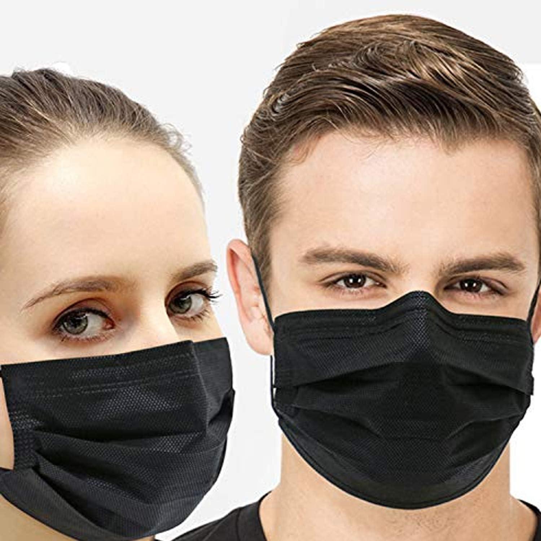 50 unidades desechables con 3 capas de protección contra el polvo con trabillas para los oídos que protegen contra la suciedad.
