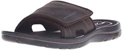 a6e527b2c13 Rockport Men s Get Your Kicks Sandals Hook and Loop Slide Coffee 13 M (D)