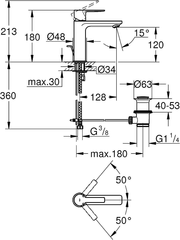 Supersteel Tama/ño XS Acero Grohe 32109DC1 Monomando de Lavabo 1//2/″
