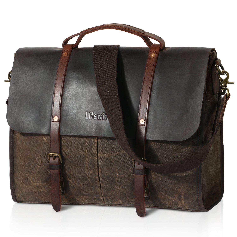 Lifewit Men's Messenger Bag Waterproof Leather Waxed Canvas Laptop Satchel Computer Shoulder Briefcase, Coffee