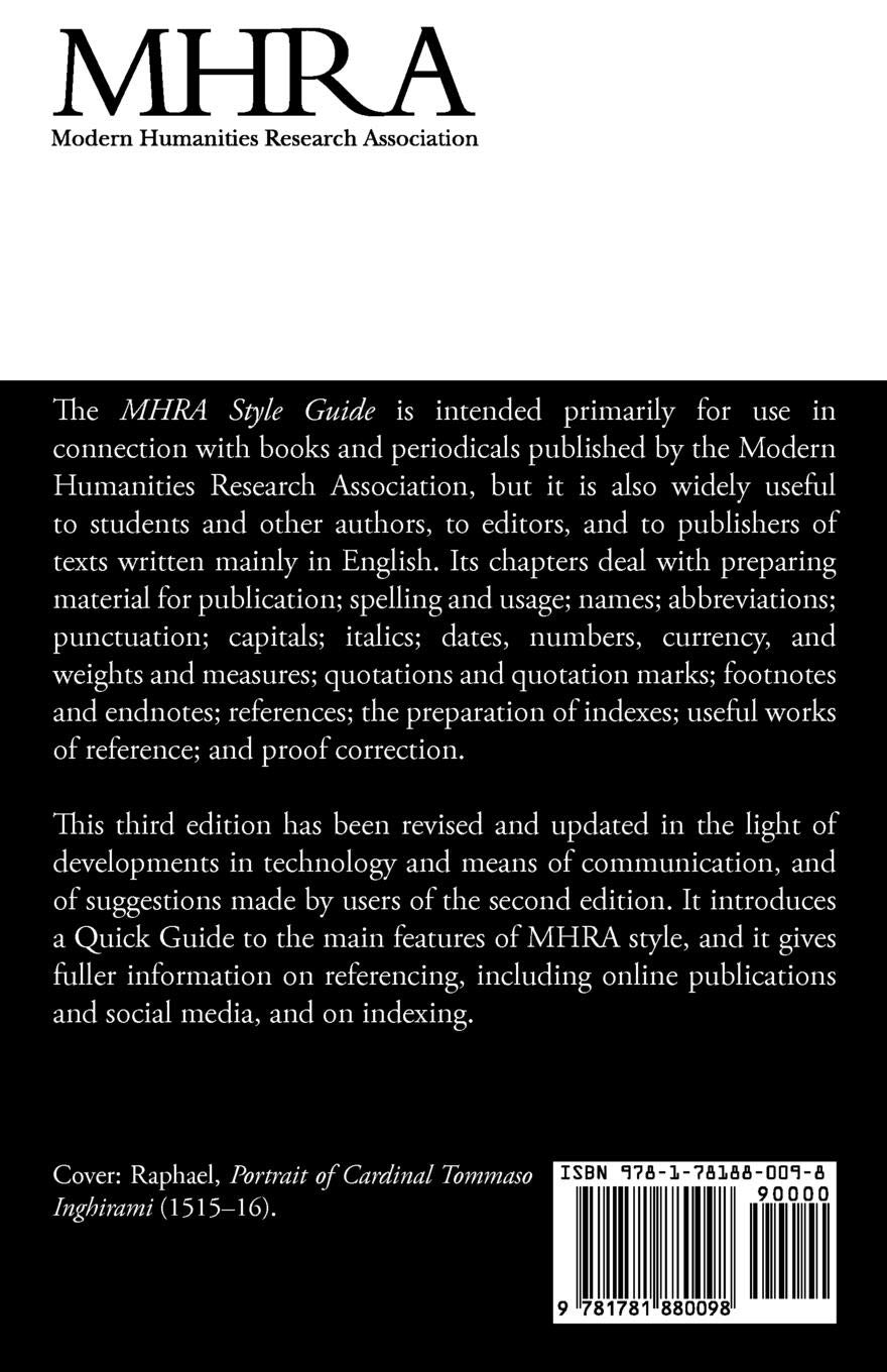 Mhra style guide a handbook for authors and editors third edition amazon co uk brian richardson 9781781880098 books
