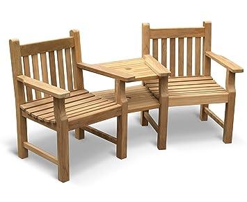 Turner Teak Garden Love Seat   Tete A Tete 2 Seater Companion Seat   Jati  Brand