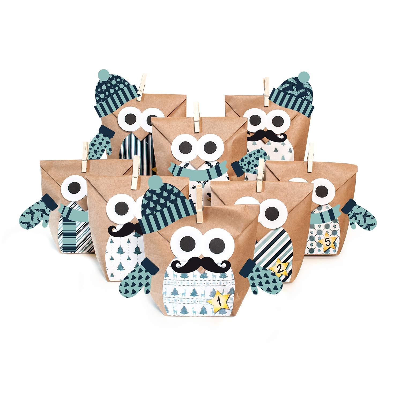 Pajoma DIY Adventskalender Bastelset Christmas Owl Blue mit Extras, 24 Kraftpapiertüten zum Basteln & Befüllen, kein Schneiden notwendig, Weihnachten 50295