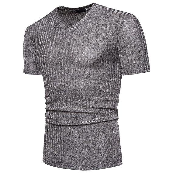 SHOBDW Moda hombres CVC blusa manga corta Fit Pollover camisa cuello V causal superior (Gris