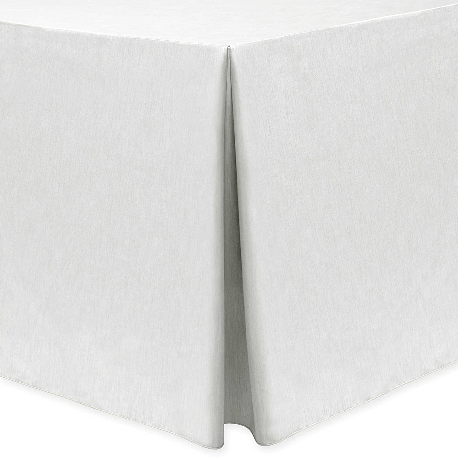 Ultimate Textile -2 Pack- Shantung - Majestic 4 ft. Fitted Tablecloth - Fits 24 x 48-Inch Rectangular Tables, White