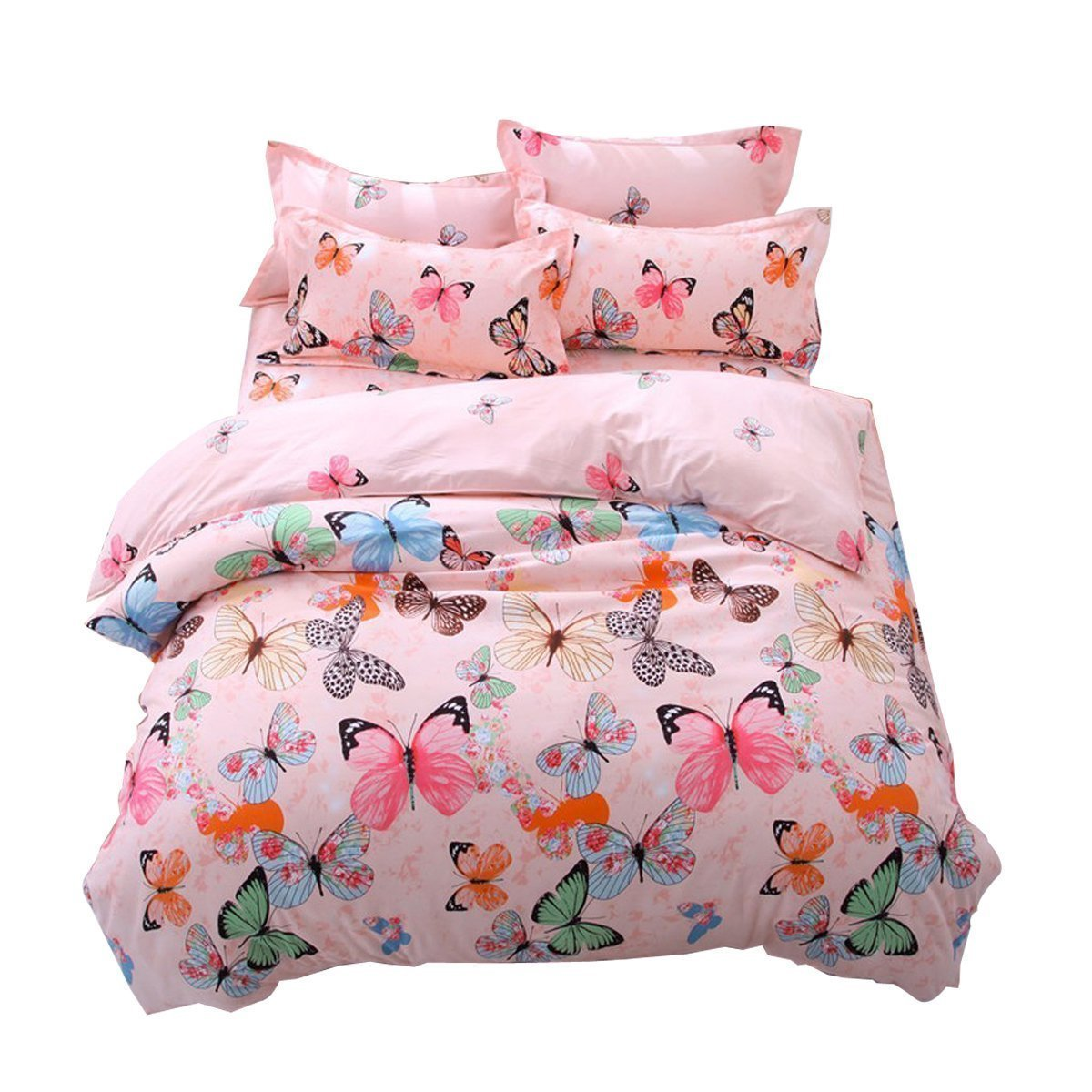 Lemontree Butterfly Bedding Set- Girls Soft Bedding DUVET COVER-Pink Butterflies Floral Patterns,Hypoallergenic,Microfiber -1 Duvet Cover + 1 FLAT Sheet + 2 Pillowcases JUST COVER NOT COMFORTER