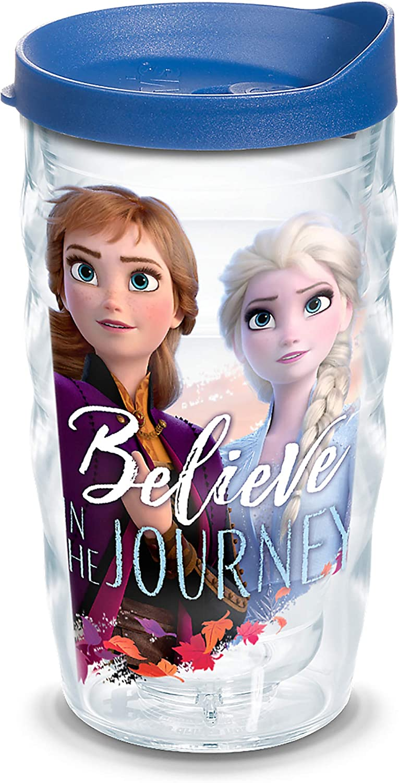 Tervis Disney Frozen 2 Anna Elsa Journey BPA Free Insulated Travel Tumbler with Wrap & Lid, 10 oz Wavy - Tritan, Clear