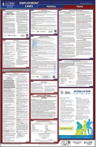 """2020 Texas Labor Law Poster, No Workers' Comp, All-in-One OSHA Compliant TX State & Federal Laminated Poster (26"""" x 40"""" English) - Includes FFCRA Poster - J. J. Keller & Associates"""
