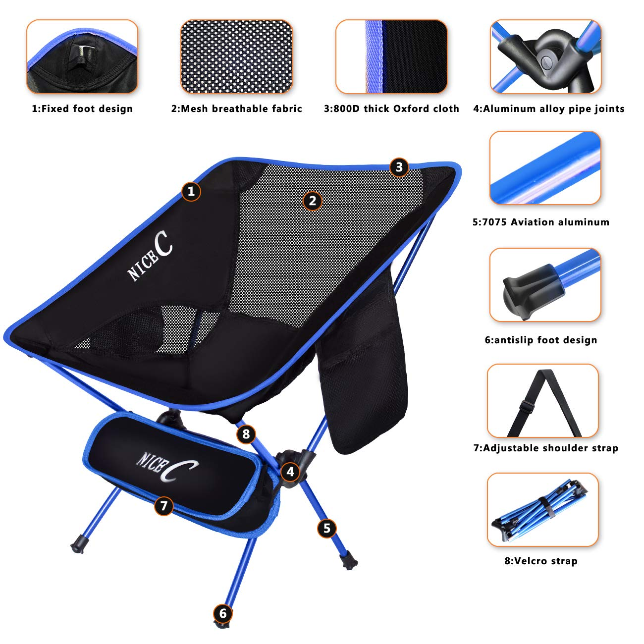 NiceC Ultralight Portable Folding Camping Backpacking Chair Compact Heavy Duty Outdoor, Camping, BBQ, Beach, Travel, Picnic, Festival with 2 Storage Bags Carry Bag