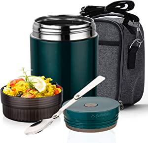 ArderLive Insulated Lunch Container, Stainless Steel Thermal 25 oz Hot Food Jar Leakproof Wide Mouth, Keep Food Hot Warm Lunch Box for Kids Adult with Lunch Bag, Spoon, School Office Picnic (Green)