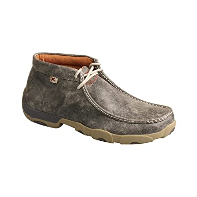 Twisted X Men's Casual Leather Chukka Driving Mocs Grey: Clothing