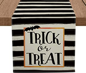 Artoid Mode Trick or Treat Bat Table Runner, Seasonal Fall Halloween Holiday Tablecloth Kitchen Dining Table Linen for Indoor Outdoor Home Party Decor 13 x 72 Inch