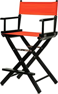 """Casual Home 24"""" Director's Chair Black Frame-with Orange Canvas, Counter Height"""