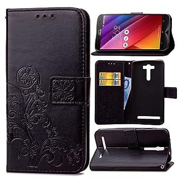 pinlu Funda para ASUS ZenFone 2 Laser ZE550KL (5.5pulgada) Función de Plegado Flip Wallet Case Cover Carcasa Piel PU Billetera Soporte con Trébol de ...