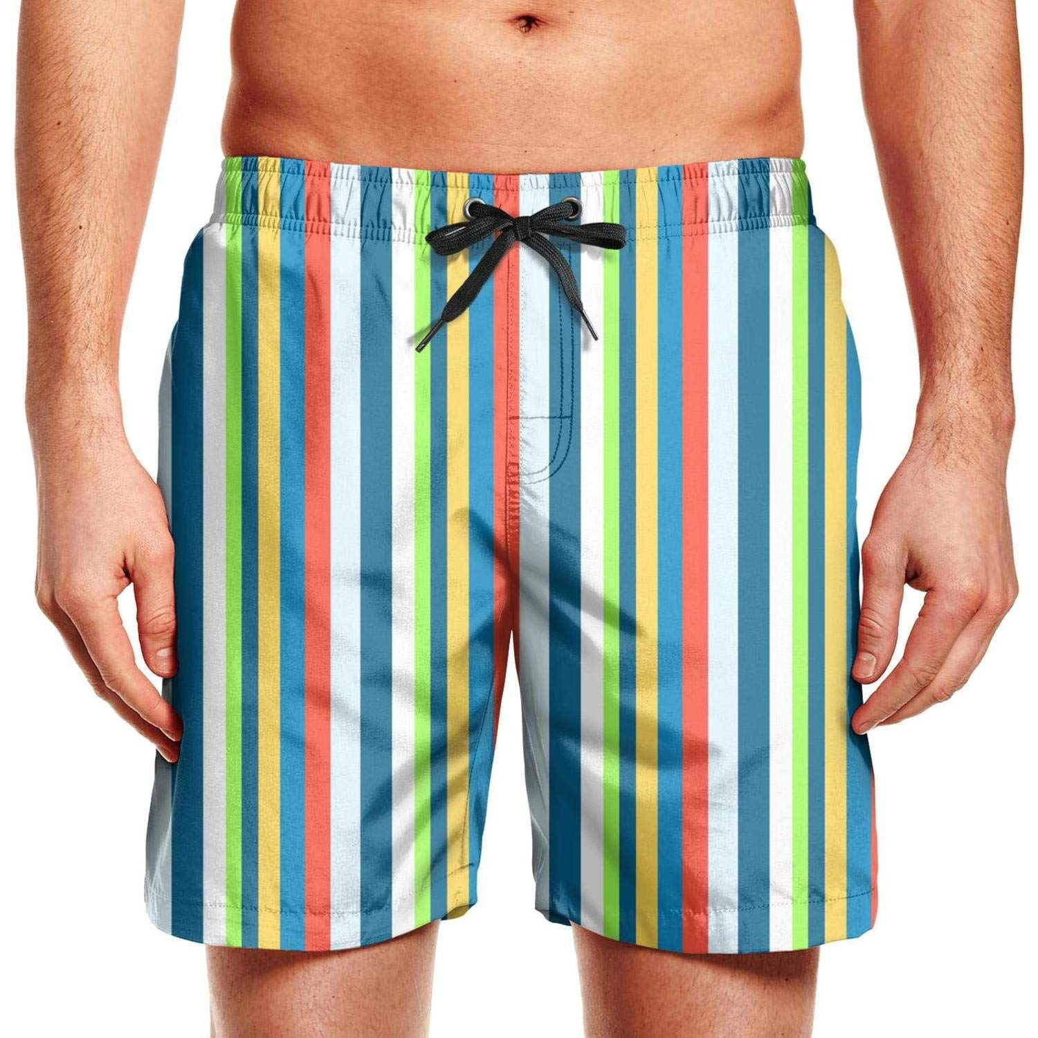 HOTZX Mens Casual Slim Fit Quick Dry Swimming Trunks Short-Stripe Style Beach Shorts