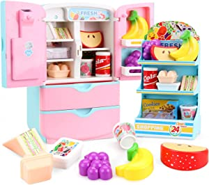 Aimatkid Fridge Play Kitchen Toys for 2 3 4 5 6 Year Old Girls Toddlers Refrigerator Food Pretend Playset Kids Cooking Sets Play Kitchen Accessories Realistic Lights & Sounds 18-Pc